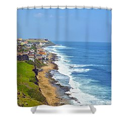 Old San Juan Coastline 3 Shower Curtain by Stephen Anderson