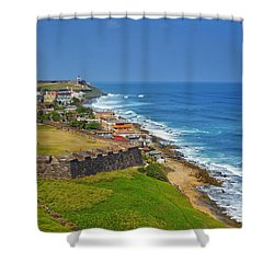 Old San Juan Coastline Shower Curtain by Stephen Anderson