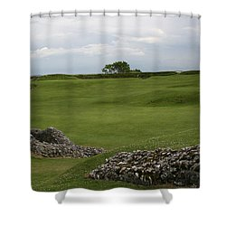 Old Sarum Shower Curtain by Mary Mikawoz