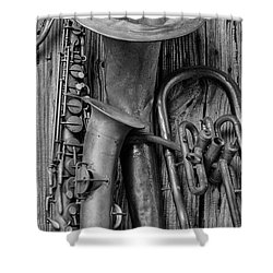 Old Sax And Tuba Shower Curtain