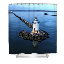 Old Saybrook Outer Lighthouse Shower Curtain