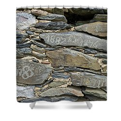Old Schist Wall With Several Dates From 19th Century. Portugal Shower Curtain by Angelo DeVal