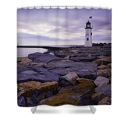 Old Scituate Light At Sunrise Shower Curtain