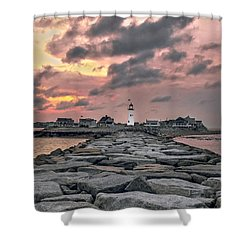 Old Scituate Light At The End Of The Jetty Shower Curtain