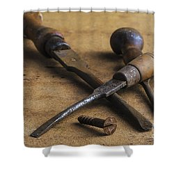 Old Screwdrivers Shower Curtain by Trevor Chriss