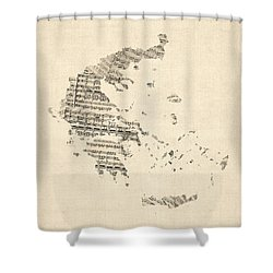 Old Sheet Music Map Of Greece Map Shower Curtain