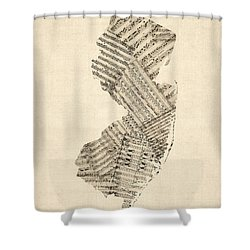 Old Sheet Music Map Of New Jersey Shower Curtain by Michael Tompsett