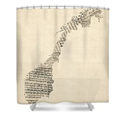 Old Sheet Music Map Of Norway Shower Curtain by Michael Tompsett