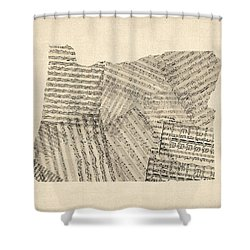 Old Sheet Music Map Of Oregon Shower Curtain