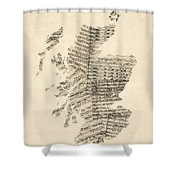 Old Sheet Music Map Of Scotland Shower Curtain