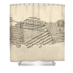 Old Sheet Music Map Of Turkey Map Shower Curtain