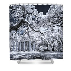 Old Sheldon Church In Infrared Shower Curtain