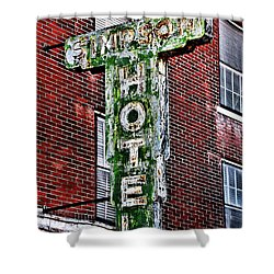Old Simpson Hotel Sign Shower Curtain by Christopher Holmes