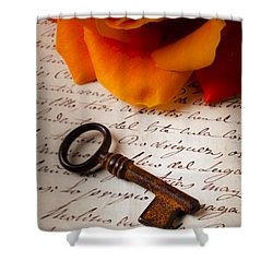 Old Skeleton Key On Letter Shower Curtain by Garry Gay