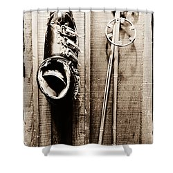 Old Ski Boot And Pole Shower Curtain by Amy Fearn