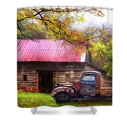 Shower Curtain featuring the photograph Old Smoky Truck And Barn by Debra and Dave Vanderlaan