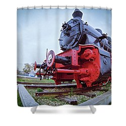 Old Steam Locomotive Close Up Shower Curtain
