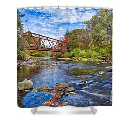 Shower Curtain featuring the photograph Old Steel Truss Train Bridge Newport New Hampshire by Edward Fielding
