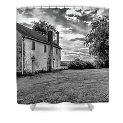 Old Stone House Black And White Shower Curtain