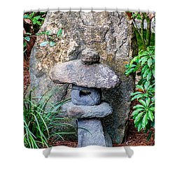 Old Stone Lantern Shower Curtain