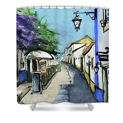 Shower Curtain featuring the painting Old Street In Obidos, Portugal by Dora Hathazi Mendes