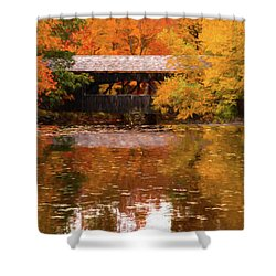 Shower Curtain featuring the photograph Old Sturbridge Village Covered Bridge by Jeff Folger
