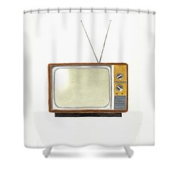 Old Television Set Shower Curtain by Michael Vigliotti