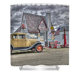 Old Time Gas Station Shower Curtain