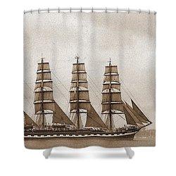 Old Time Schooner Shower Curtain