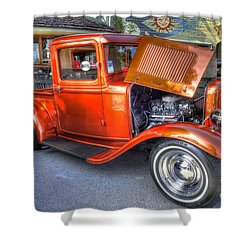 Old Timer Orange Truck Shower Curtain