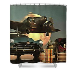 Old-timers With Airplane Shower Curtain