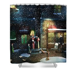 Old Town Christmas Eve Shower Curtain