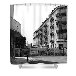 Old Town Neighborhood In The Black And White Of Blight Shower Curtain by Lorraine Devon Wilke