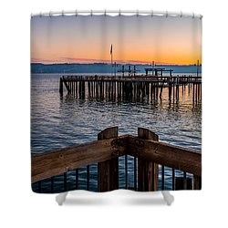 Old Town Pier During Sunrise On Commencement Bay Shower Curtain