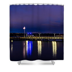 Shower Curtain featuring the photograph Old Town Pier During The Blue Hour by Rob Green