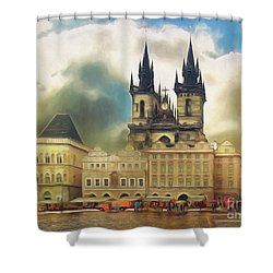 Old Town Square Prague In The Rain Shower Curtain