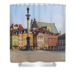 Old Town Square Zamkowy Plac In Warsaw Shower Curtain by Anastasy Yarmolovich