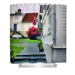 Old Town Stavanger - Painterly Shower Curtain