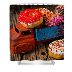Old Toy Truck And Donuts Shower Curtain by Garry Gay