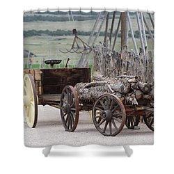 Old Tractor And Wagon In Foreground Cove Creek Fort Photography By Colleen Shower Curtain