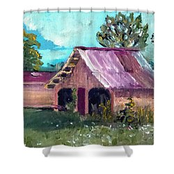 Old Tractor Shed Shower Curtain by Jim Phillips