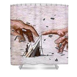 Traditional Art Vs. Digital Art Shower Curtain