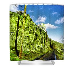 Shower Curtain featuring the photograph Old Trolly Tracks by Jeff Swan