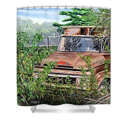 Shower Curtain featuring the painting Old Truck Rusting by Marilyn  McNish