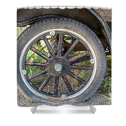 Old Truck Tire In Rural Rocky Mountain Town Shower Curtain