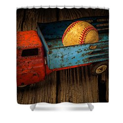 Old Truck With Basball Shower Curtain by Garry Gay