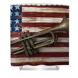 Old Trumpet On American Flag Shower Curtain by Garry Gay