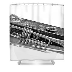 Shower Curtain featuring the photograph Old Trumpet by Walt Foegelle