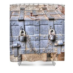 Shower Curtain featuring the pyrography Old Trunk by Yury Bashkin