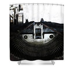 Old Typewriter Machine In Grunge Style Shower Curtain by Michal Boubin